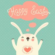 Happy Easter card with cute bunny N2