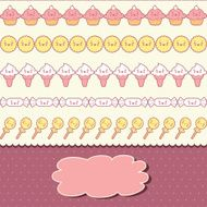 Seamless kawaii pattern with cute cakes N5