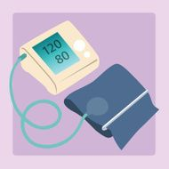 Sphygmomanometer measures blood pressure readings of 120 80
