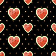Halves watermelon and seeds on black background Seamless pattern