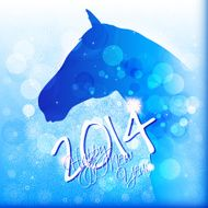 Happy New Year card or background with horse N3