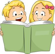 Siblings Reading a Book