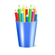 Several color pencils in a cup Vector Illustration