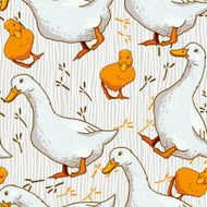 Cute cartoon background with a duck