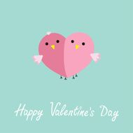 Two pink birds half heart Love Flat design Valentines day