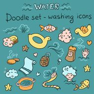 Doodles set - washing icons (vector)