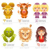 Zodiac icon set Aries Taurus Gemini Cancer Leo Virgo