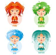 Four elements icon set Fire Earth Air Water