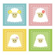 Set of sheep family icons