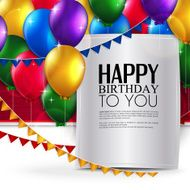 Vector birthday card with balloons and text N18
