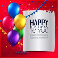 Vector birthday card with balloons and text on red background