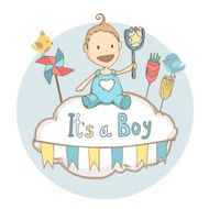 Baby shower it's a boy baby with toy
