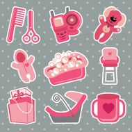 Cute icons for newborn baby girl Polka dot background