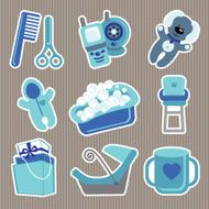 Cute icons for newborn baby boyStrips background