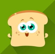 Toasty, cartoon Toasted Bread, Cute Character