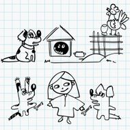 Sketch Girl and dogs