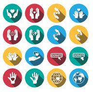 Flat long shadow charity icon set vector
