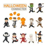 Set of halloween costume characters trick or treat