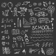 Back to school doodles set on blackboard Vector illustration