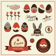 Set of easter ornaments and decorative labels Vector illustrati