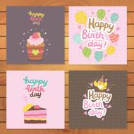 Happy Birthday card background with cupcake N2
