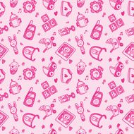 seamless doodle baby pattern background N31