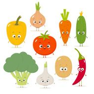 Cartoon vegetables vector set in flat style