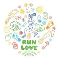 run girl vector icons set healthy lifestyle background