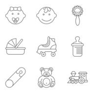 Baby related flat vector icon set N11