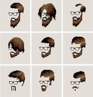 hairstyles with a beard and mustache wearing glasses N2