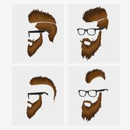 hairstyles with a beard and mustache wearing glasses N3