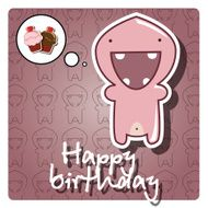 Happy birthday card with cute colorful monster vector N4