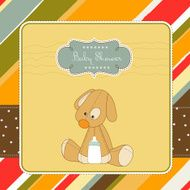 baby shower, colorful card with puppy dog