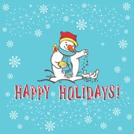 Christmas greeting card Snowman Vector illustration N2