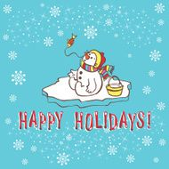 Christmas greeting card Snowman Vector illustration N3