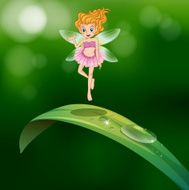 Beautiful fairy above an elongated green leaf