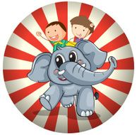 Two kids riding at the back of a gray elephant