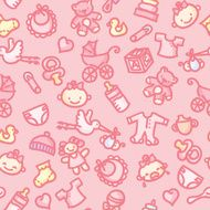 seamless pattern baby girl in color