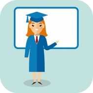 Learning concept with student in graduation gown near blackboard