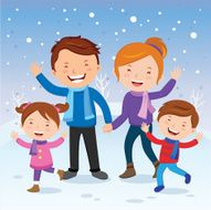 Winter fun Cheerful family in the snow