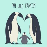 We are family Penguins' couple with a baby