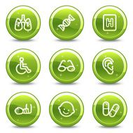 Medicine web icons set 2 green glossy circle buttons series