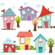 Cute Houses and Homes - Illustration