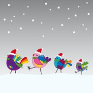 Birds going to a christmas party
