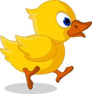 cute little baby duck cartoon running