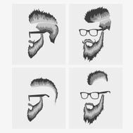 hairstyles with a beard and mustache wearing glasses N4