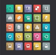 Trendy Vector Icons With Long Shadow Set 19