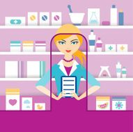 Young blonde pharmacy chemist girl standing in drugstore