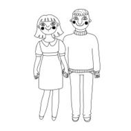 Drawn man and woman Young couple in love N2