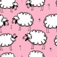 Funny sheeps on meadow seamless pattern for your design N3